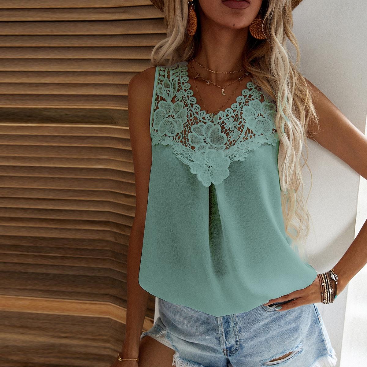 Однотонная блуза с кружевом SheIn swblouse23210519133