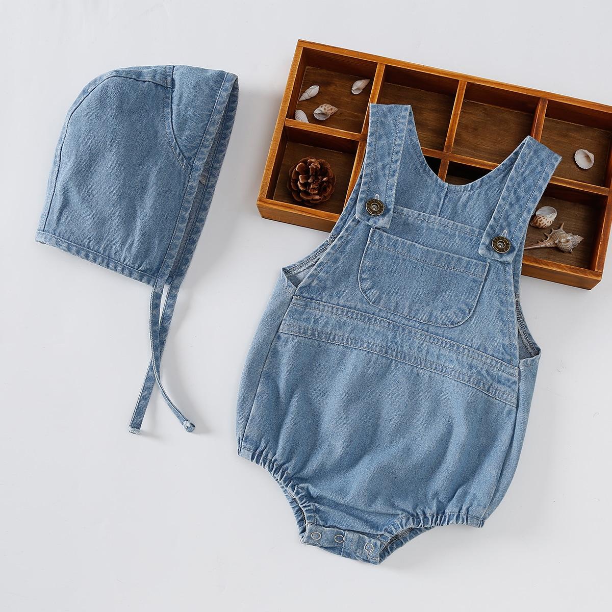 Детское джинсовое боди с шапкой от SHEIN