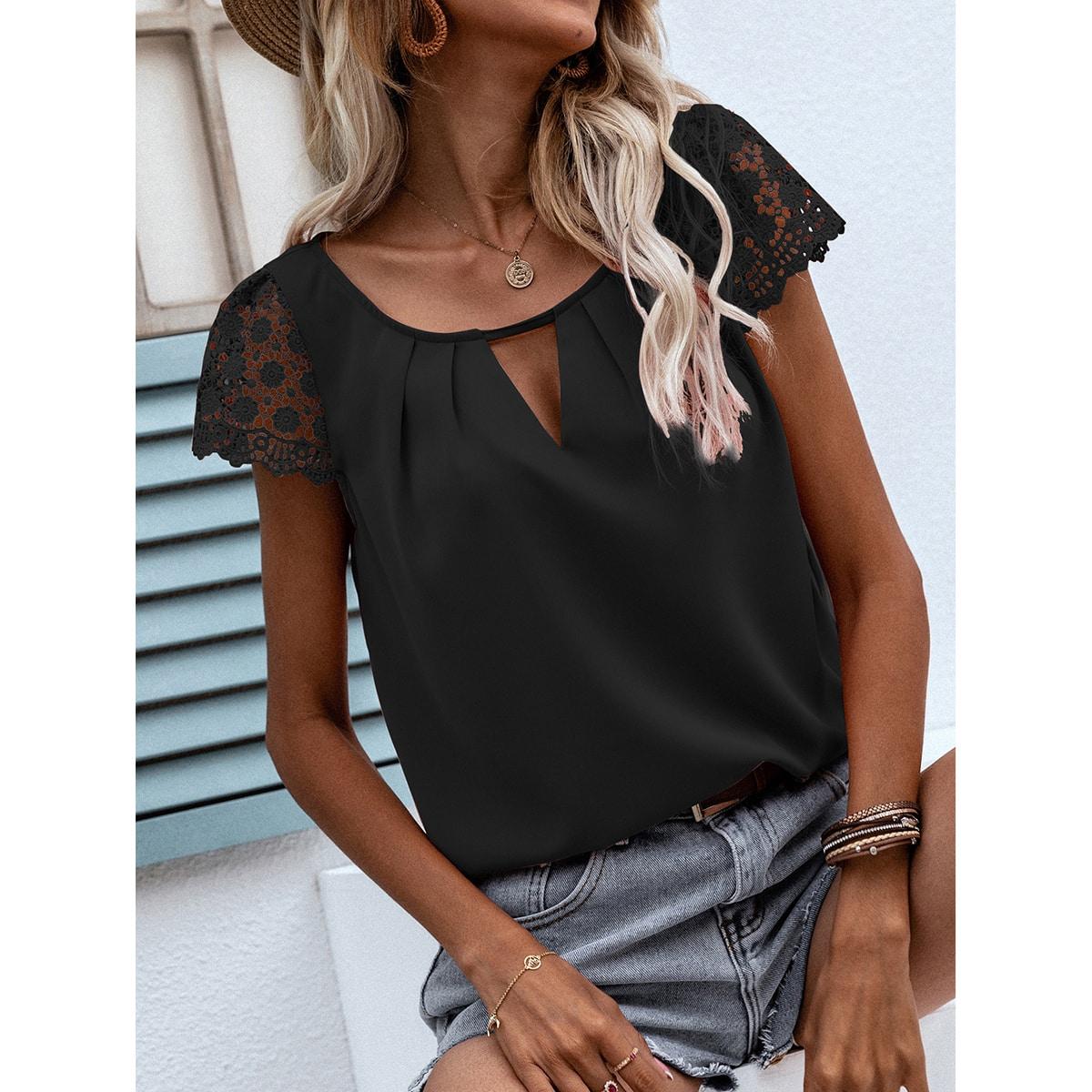 Блуза с гипюровым кружевом SheIn swblouse23210603769