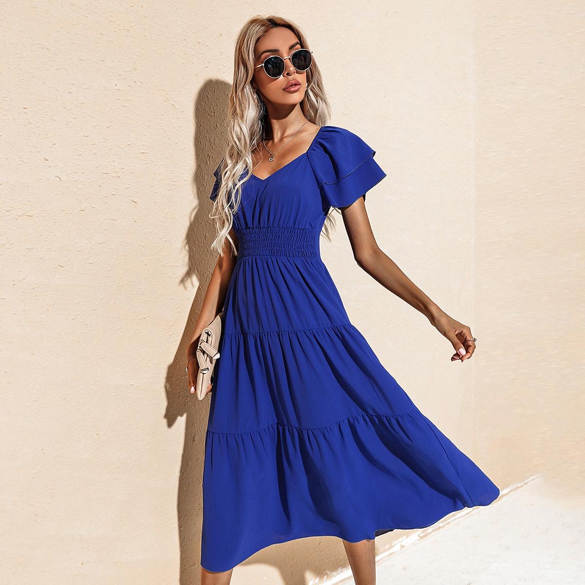 Платье с глубоким декольте с оборками SheIn swdress23210512551