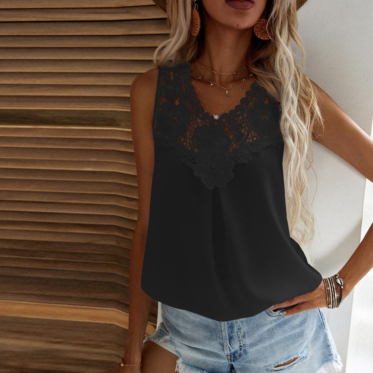 Однотонная блуза с кружевом SheIn swblouse23210519196
