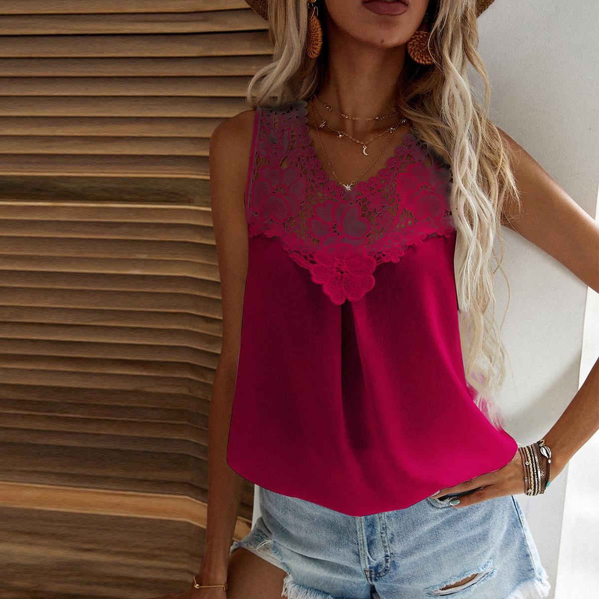 Однотонная блуза с кружевом SheIn swblouse23210519480
