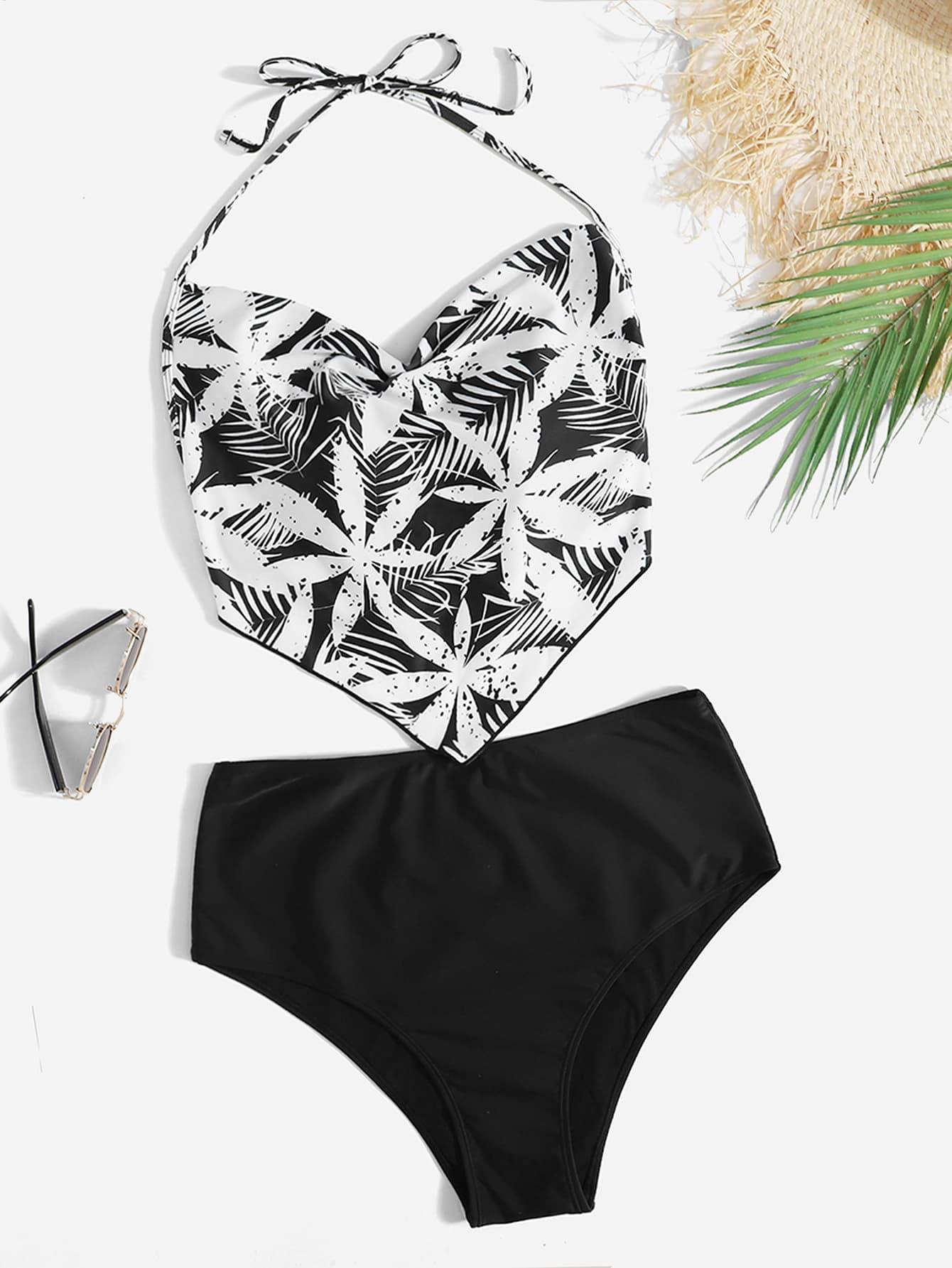 Plus Floral Print Ruffle Bikini Swimsuit