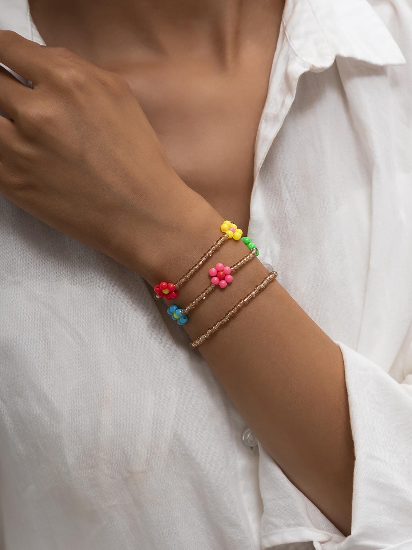 3Pcs Floral Beaded Bracelet