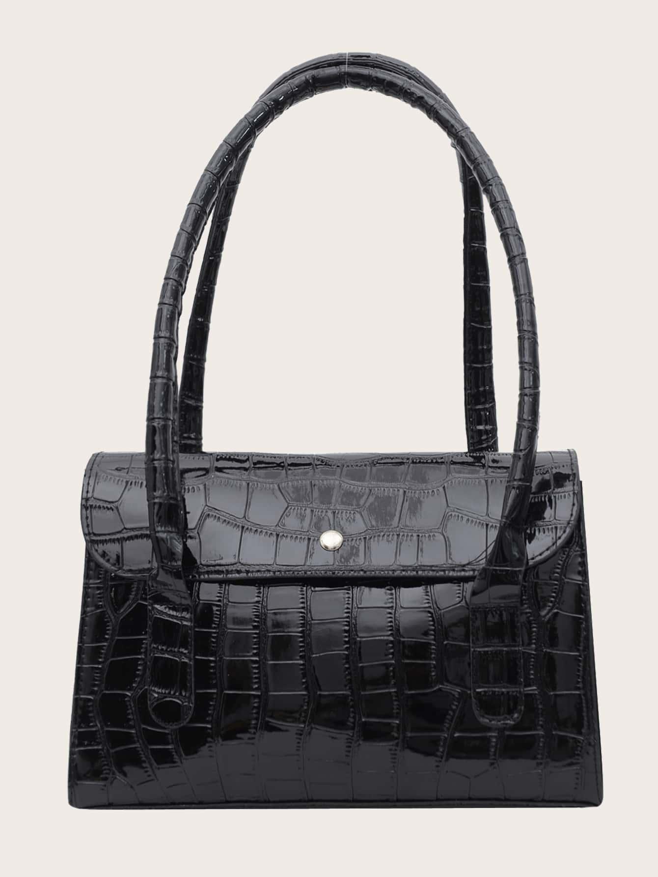 minimalist croc embossed shoulder bag
