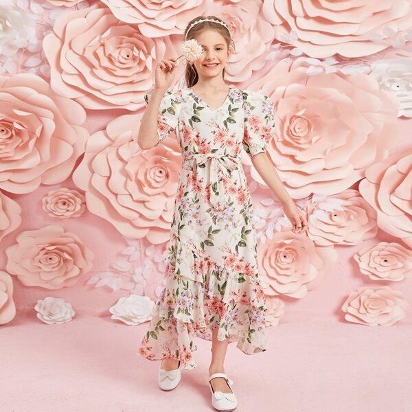 Girls Puff Sleeve Layered Asymmetrical Ruffle Hem Self Belted Dress, Multicolor