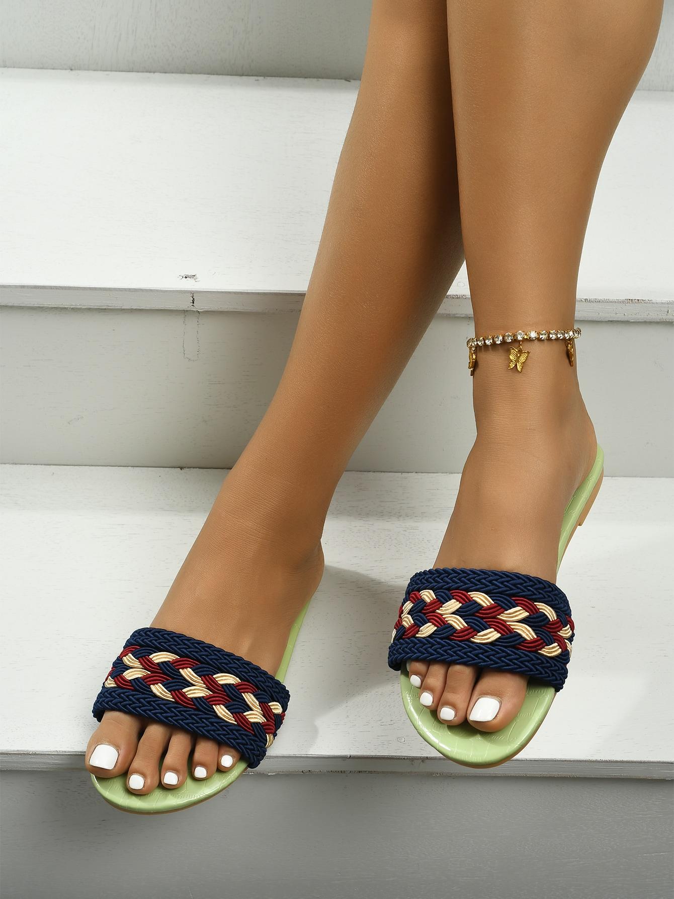 minimalist textured croc embossed slide sandals