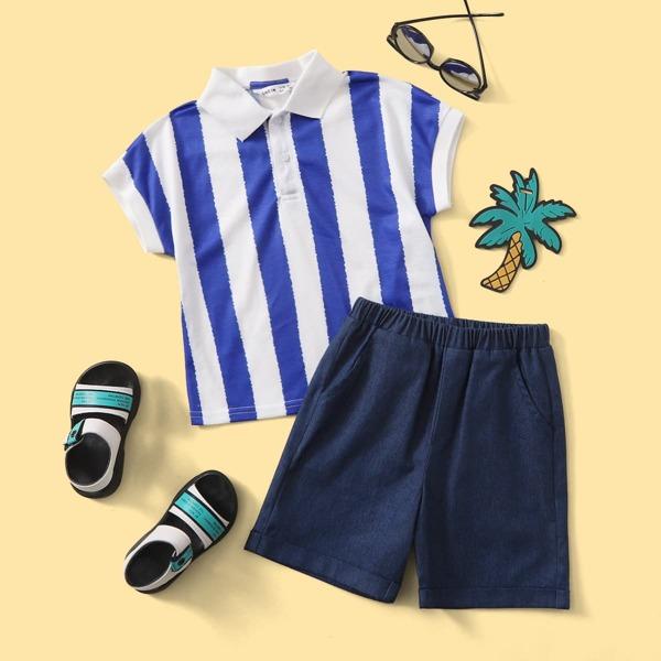 для мальчиков двухцветный в полоску Рубашка-поло и Шорты Набор, Синий и белый