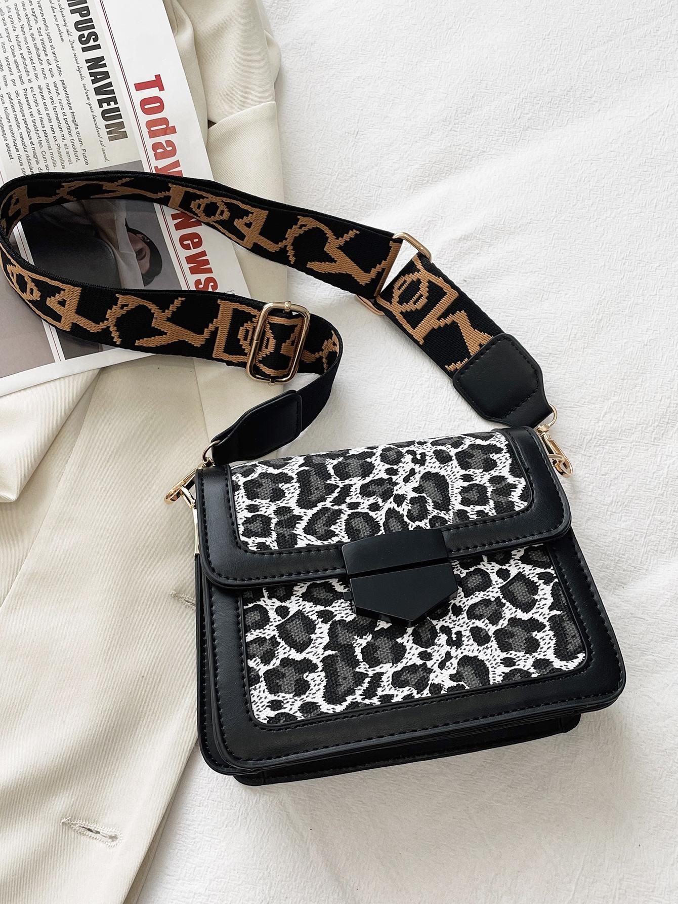 leopard graphic crossbody bag