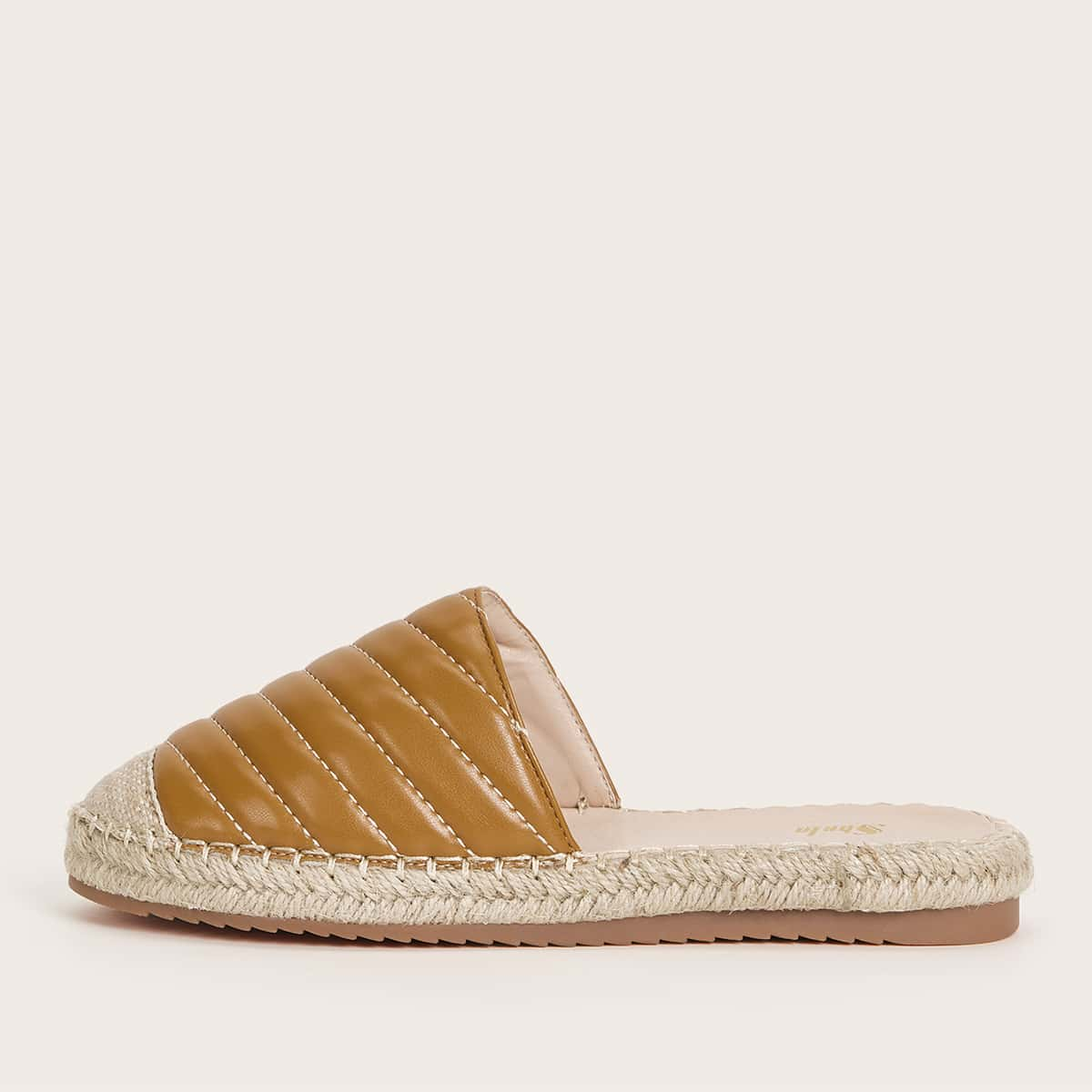 Quilted Espadrille Flat Mules