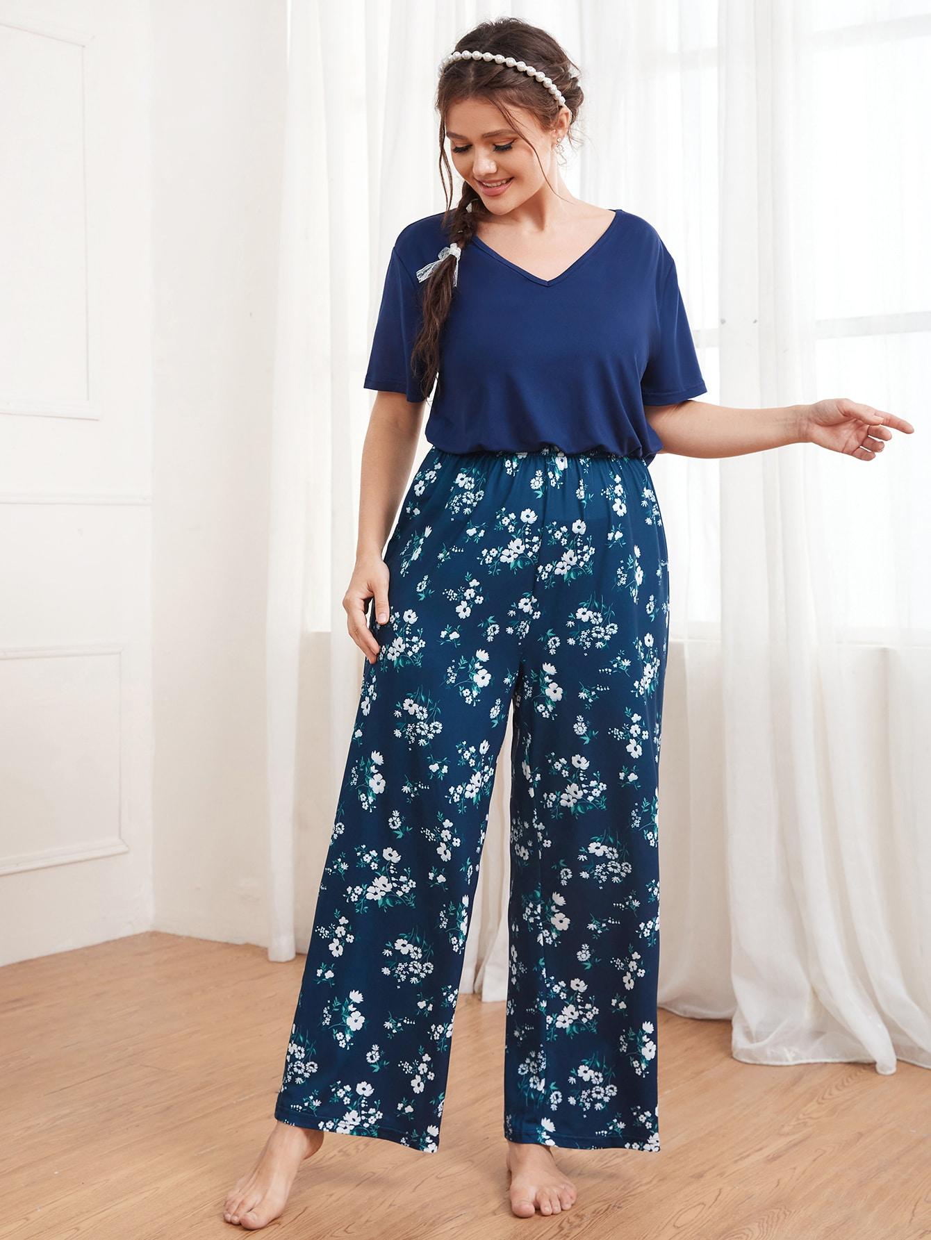 Plus Floral Print V-Neck Pajama Set