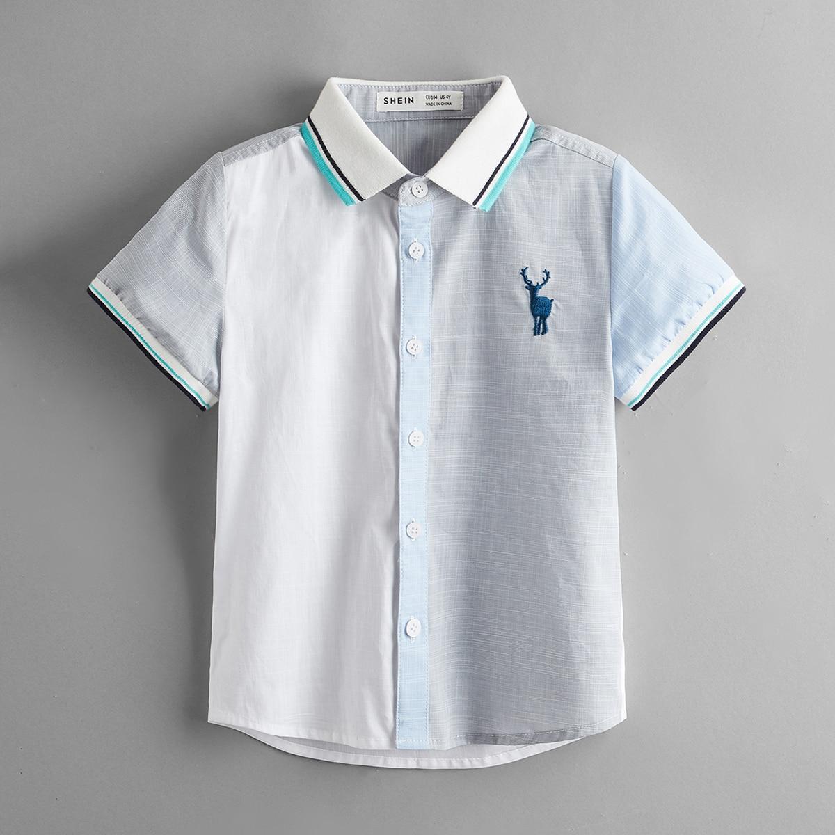 для мальчиков Рубашка с вышивкой в полоску с отделкой