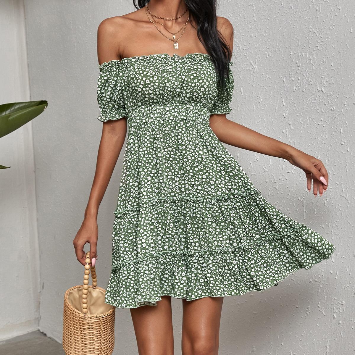 Ditsy Floral Layered Frill Bardot Dress