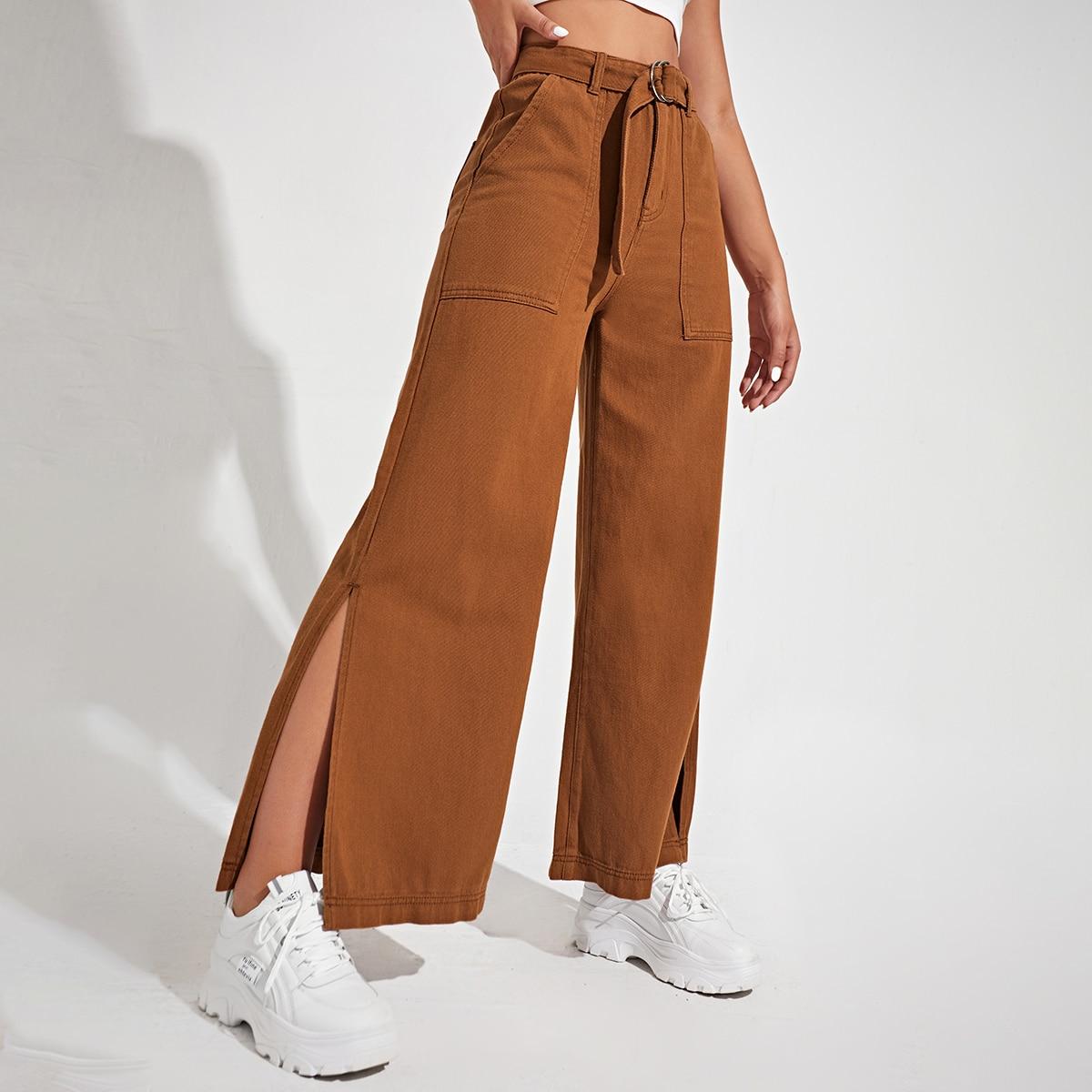 Широкие джинсы с разрезом и поясом
