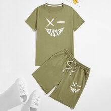 Guys Graphic Print Tee With Track Shorts