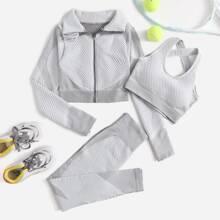 3pcs Seamless Sports Bra & Zip Up Jacket & Leggings