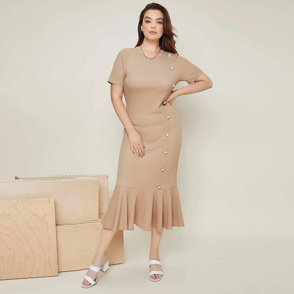 Plus Button Front Ruffle Hem Dress