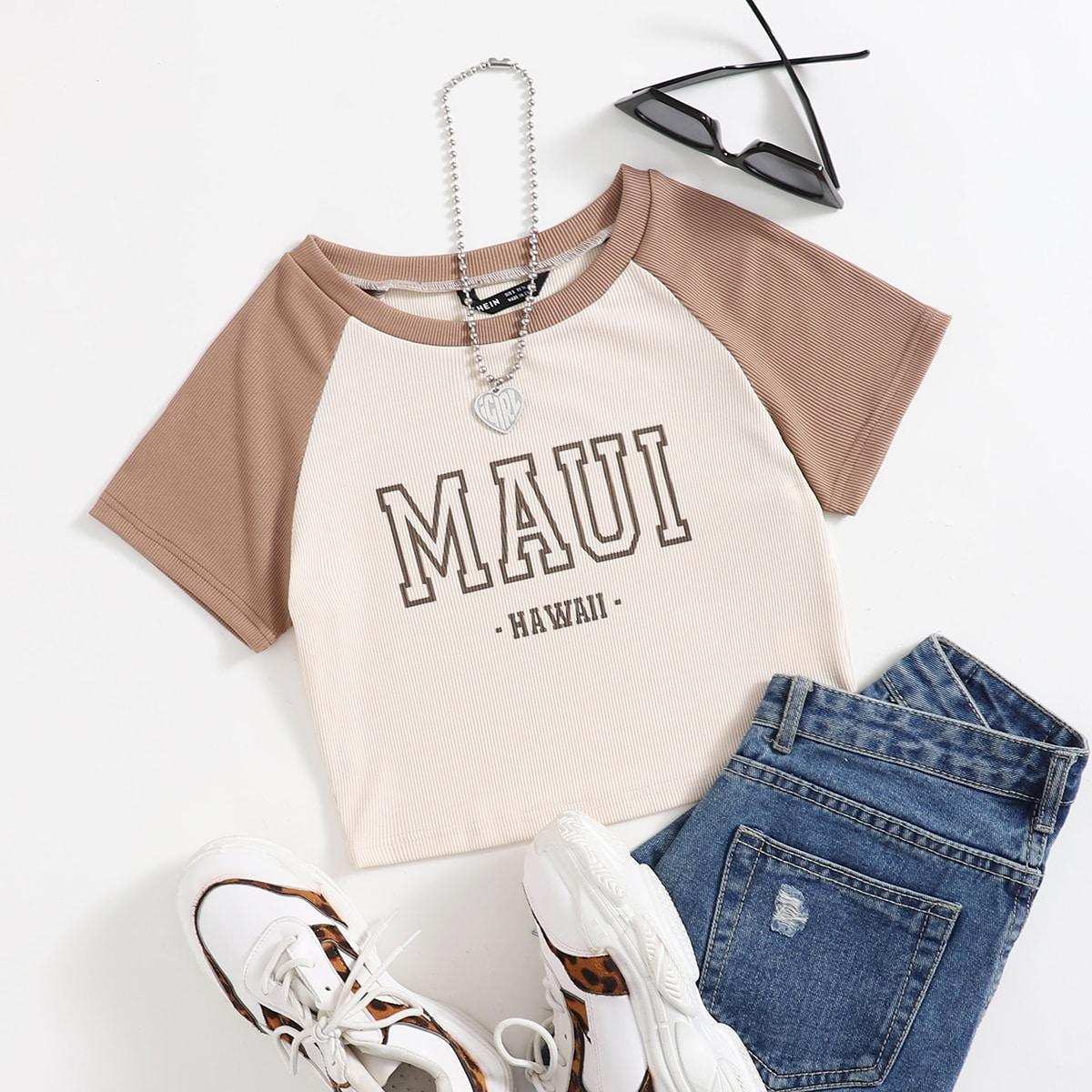 Casual Tekst T-shirt Geplisseerde