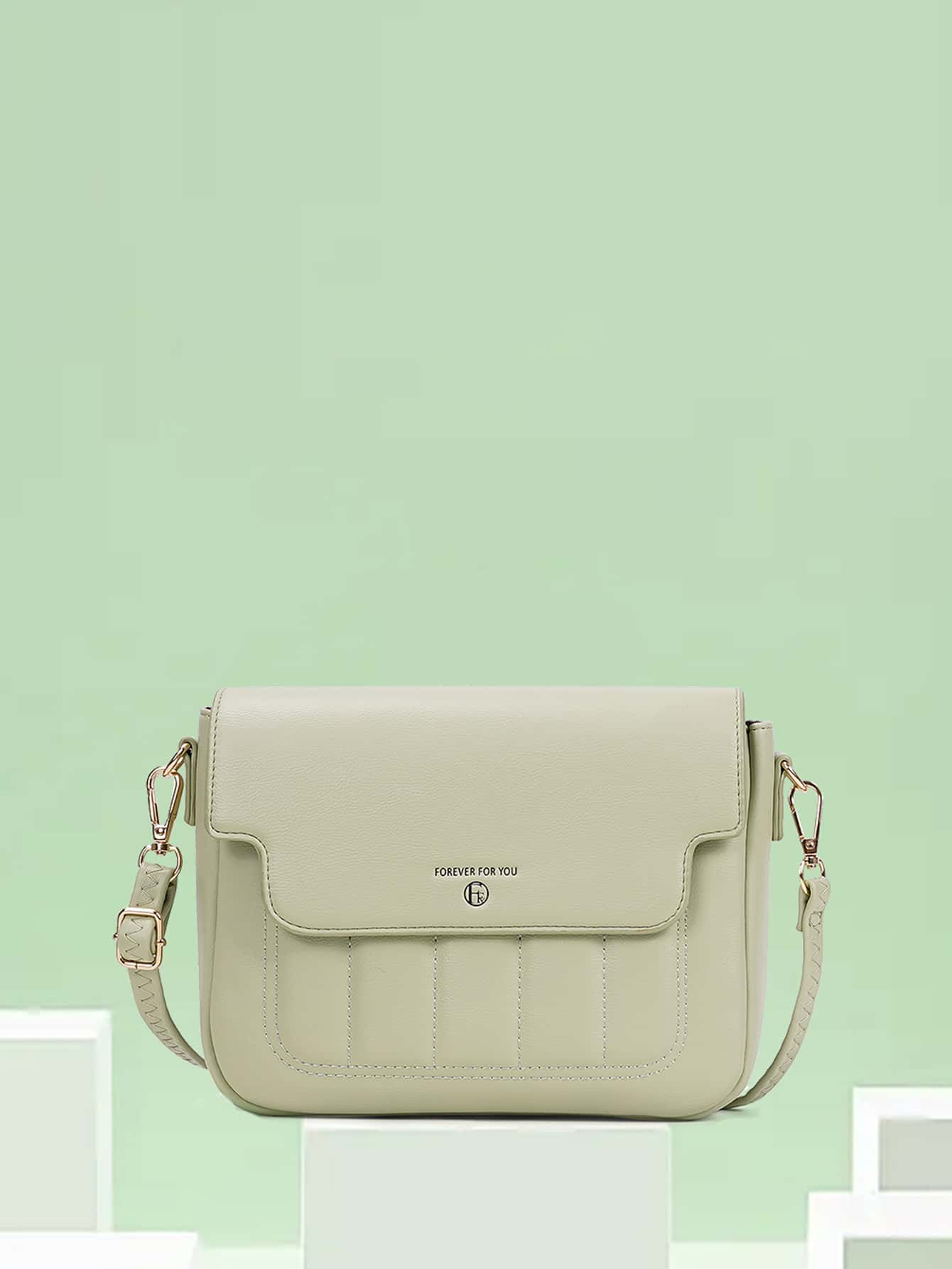 letter graphic quilted crossbody bag