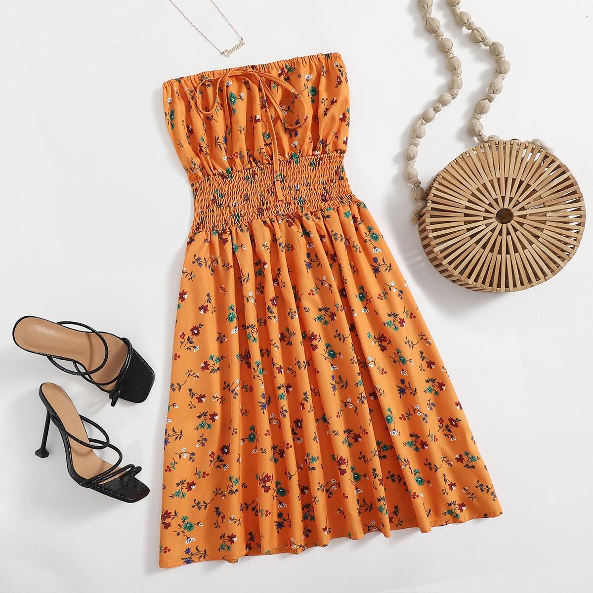 Платье-бандо с цветочным принтом SheIn swdress25210510568