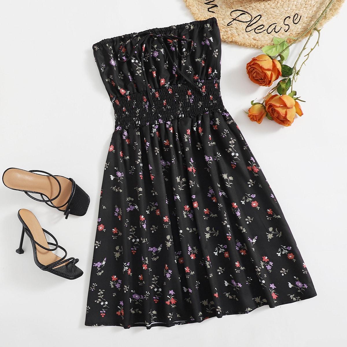 Платье-бандо с цветочным принтом SheIn swdress25210510129