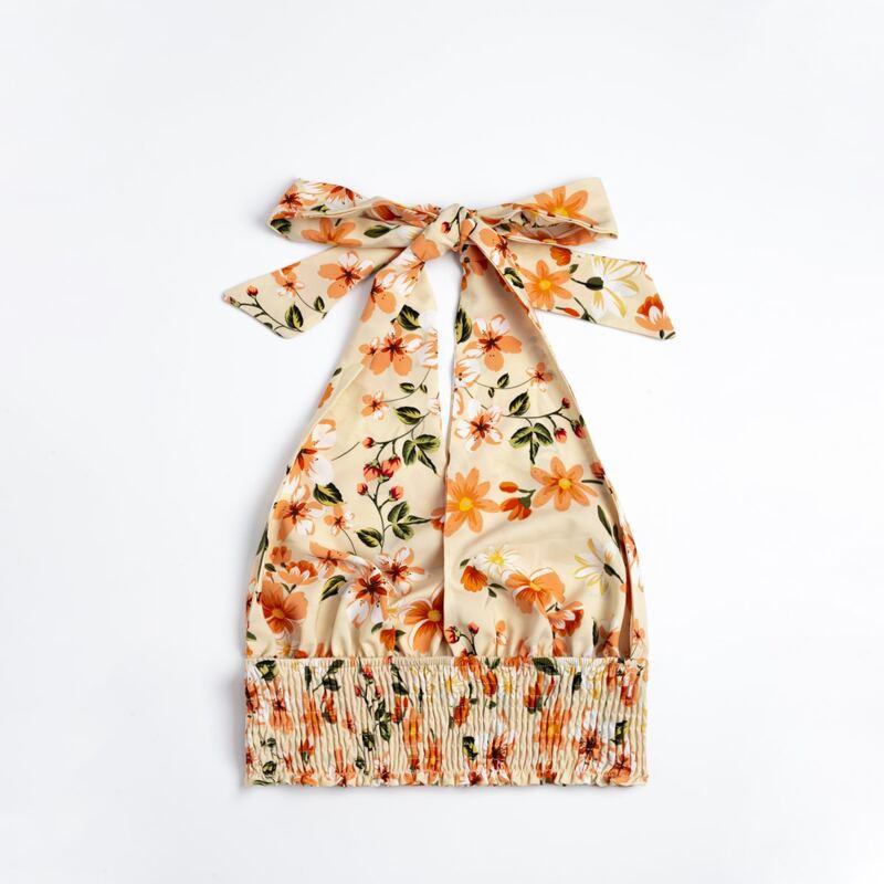 Floral Print Shirred Knot Halter Top, Multicolor