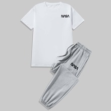 Guys Letter Graphic Tee With Drawstring Sweatpants