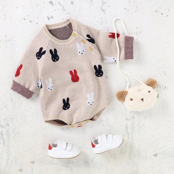 Baby Girl Cartoon Pattern Raglan Sleeve Knit Bodysuit, Camel