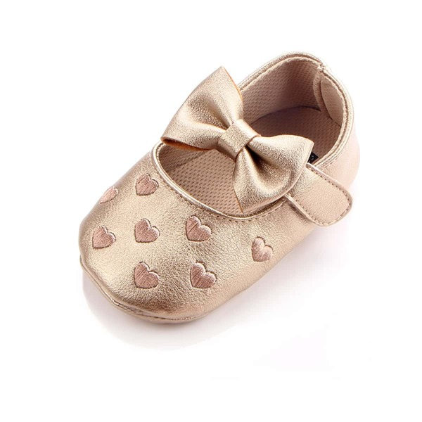 Baby Girl Metallic Heart Embossed Velcro Strap Flats, Gold