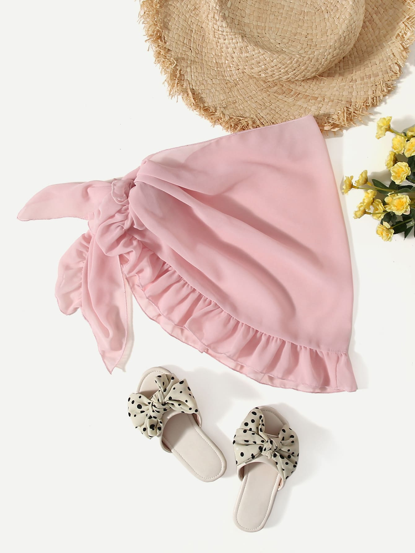 Girls Ruffle Trim Knot Side Cover Up Skirt