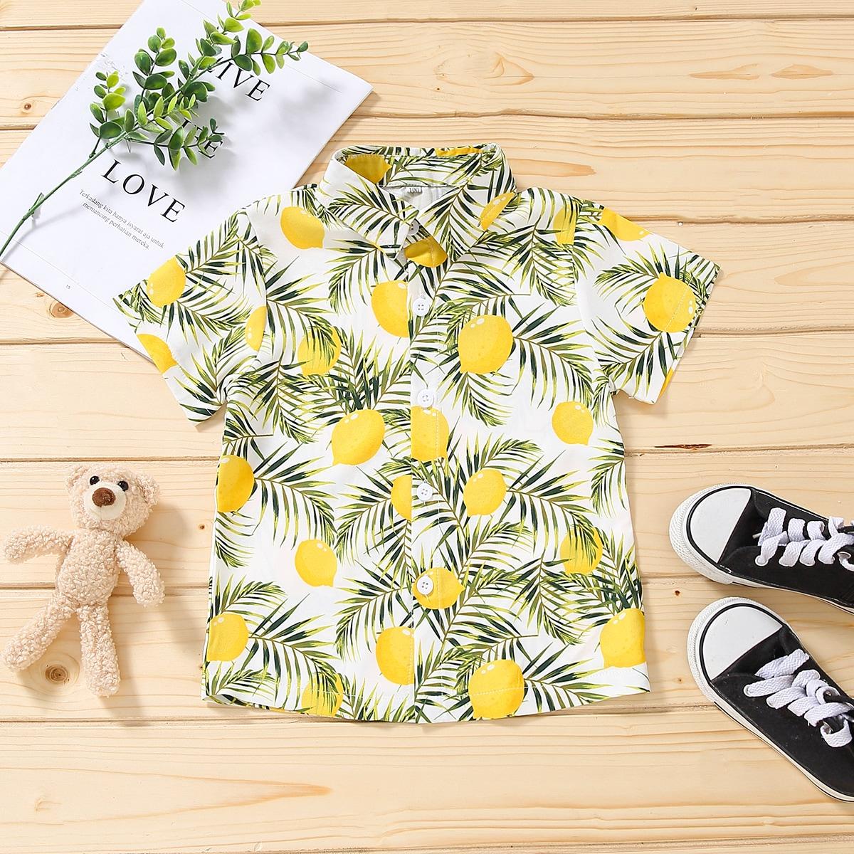 для мальчиков Рубашка лимон & с принтом листьев на пуговицах