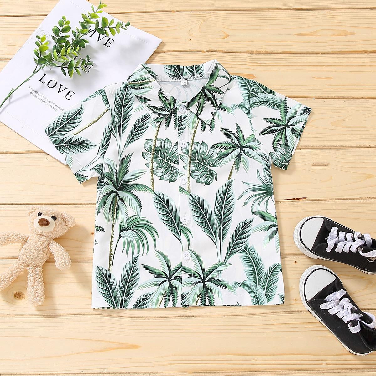 для мальчиков Рубашка листья & с принтом дерева на пуговицах