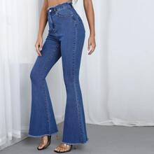 High Waist Raw Hem Flare Leg Jeans