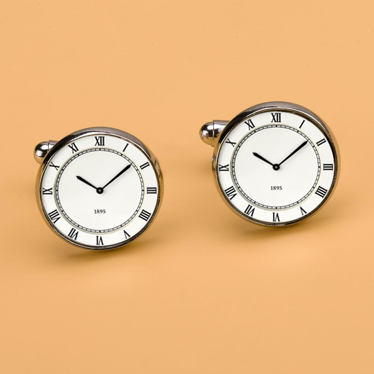 Мужские запонки в форме часов
