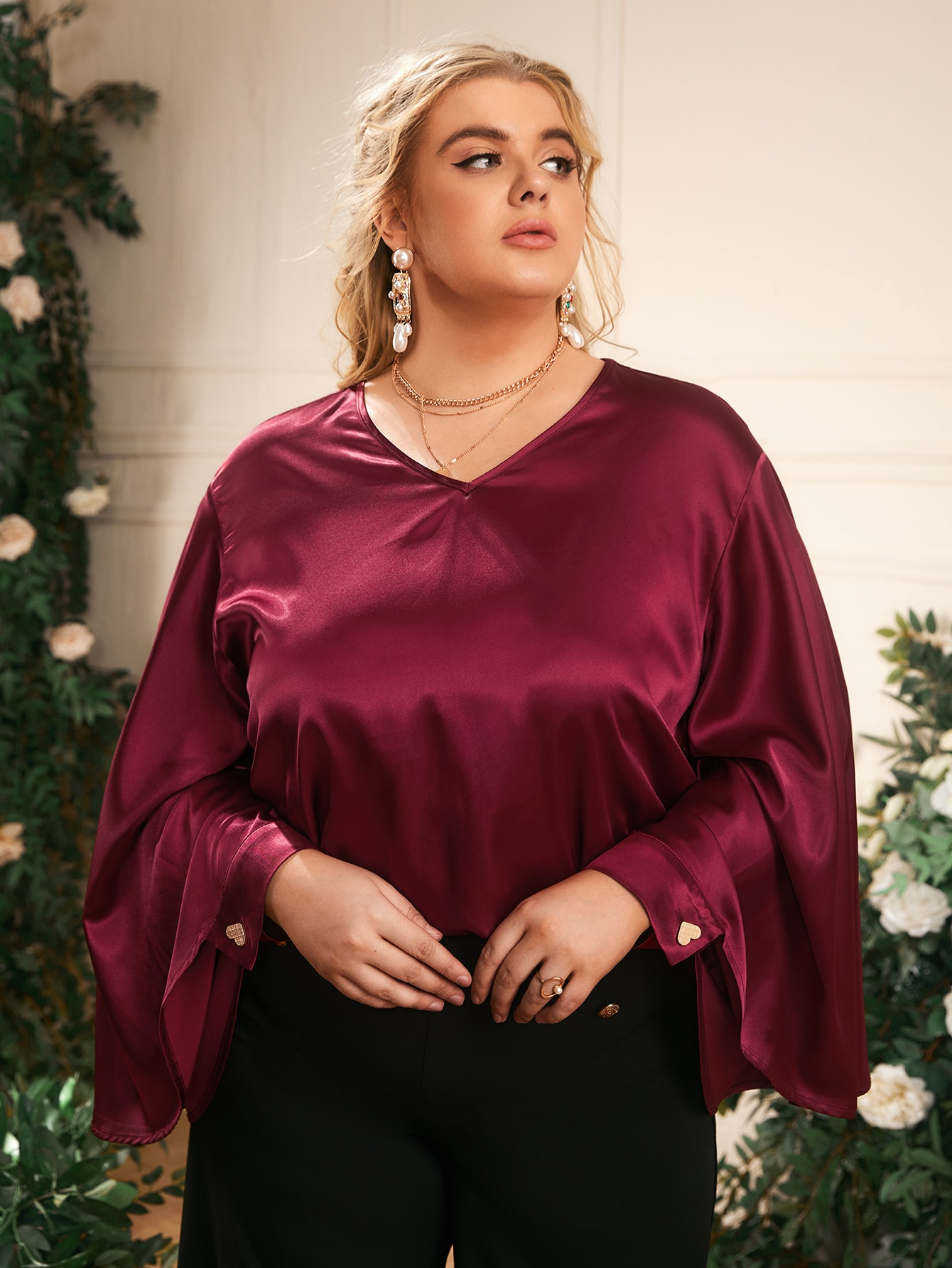 Plus V-Neck Bell Sleeve Top
