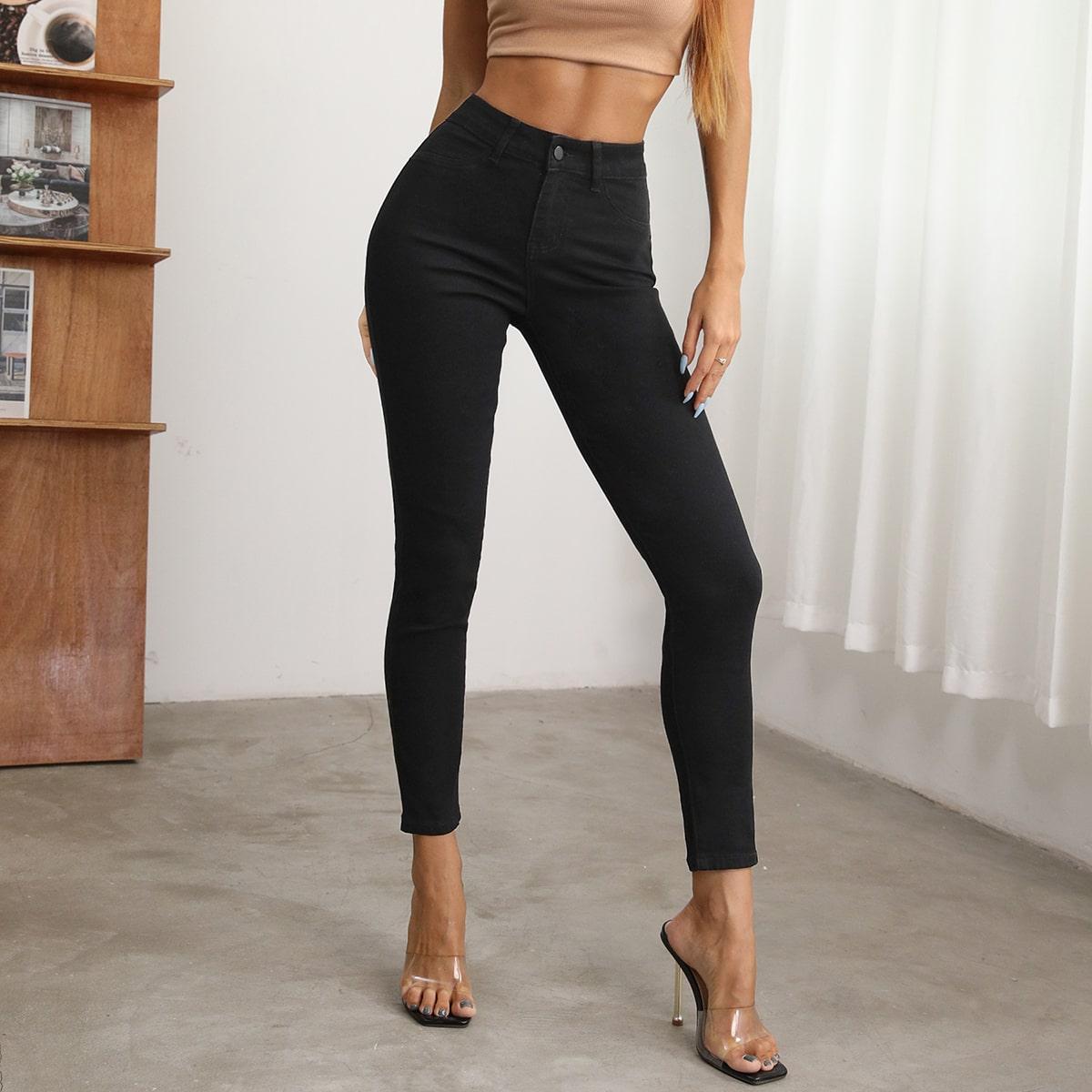 Короткие джинсы скинни с высокой талией