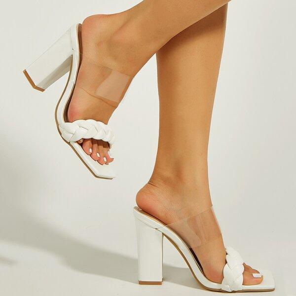Minimalist Braided Design Chunky Sandal Mules, White