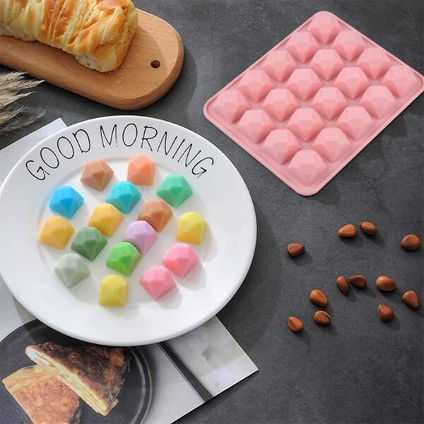 1pc 20 Grid Diamond Chocolate Mold, Pink