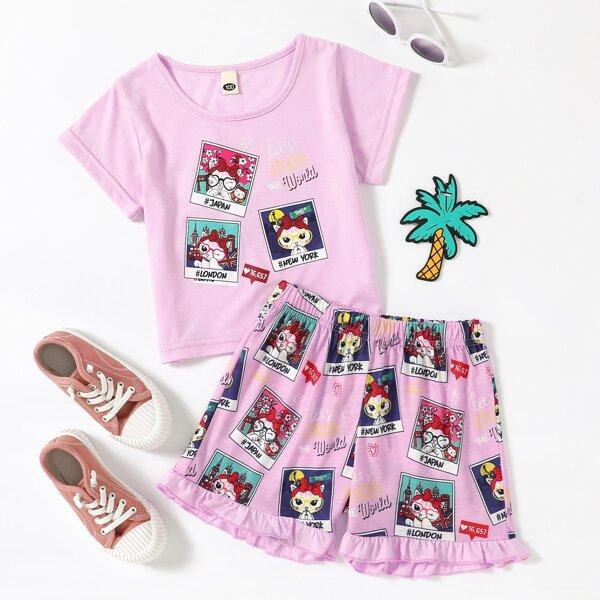 Toddler Girls Cartoon Cat & Slogan Graphic Tee & Ruffle Hem Shorts Set, Pink