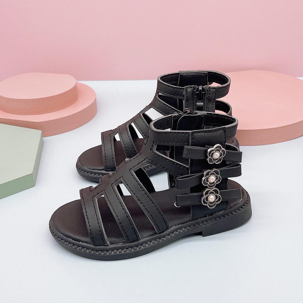 Контрастные сандалии для девочек SheIn skshoes25210611139