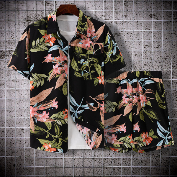 Men Random Tropical Print Shirt With Shorts Without Tee, Black