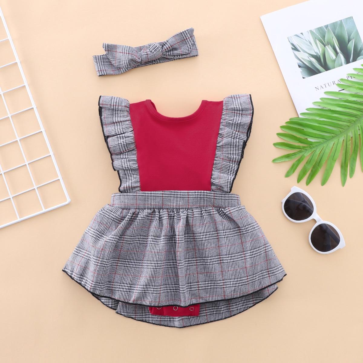 для девочек в клетку с оборками Составной комплект Боди Платье с Ободок для волос от SHEIN