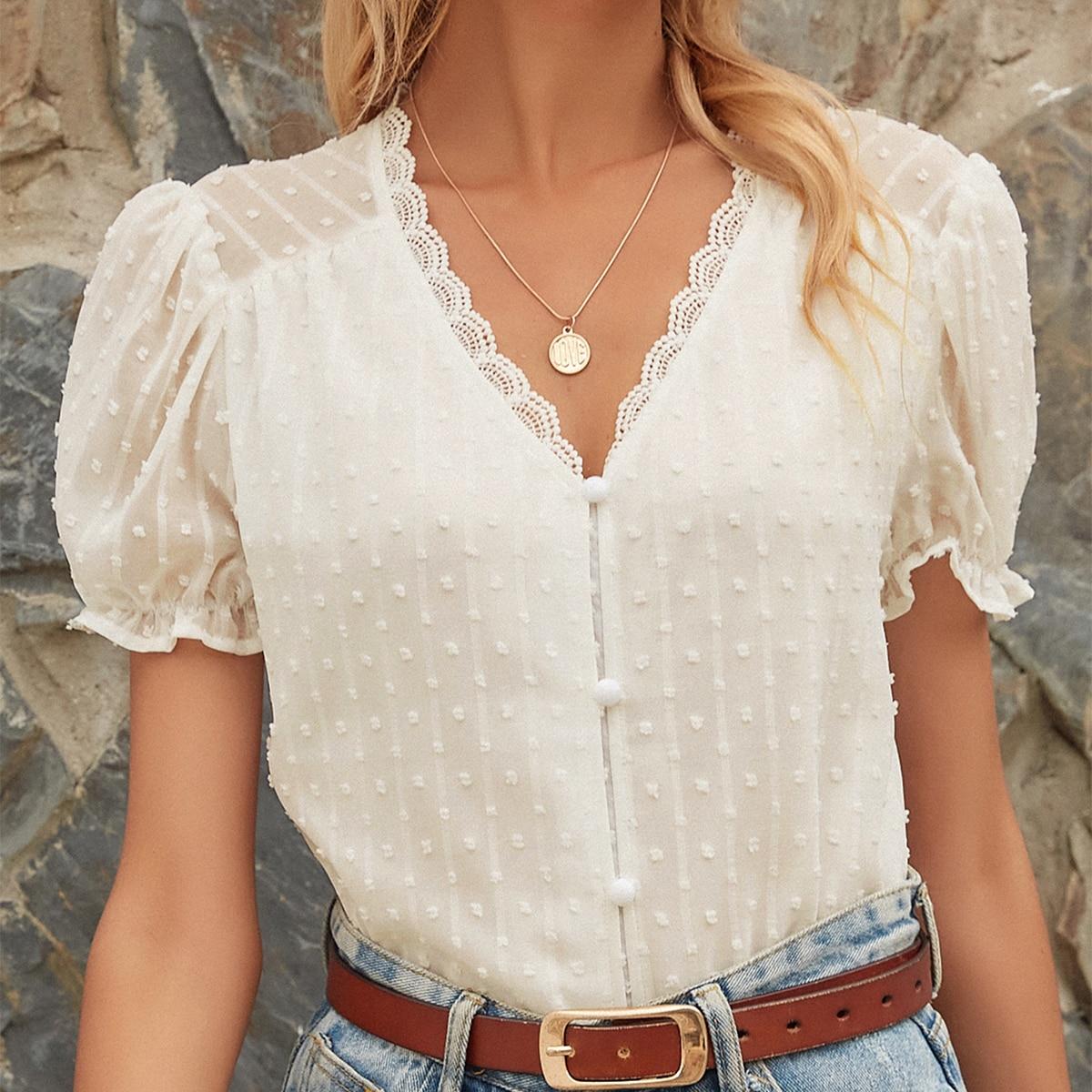 Шифоновая блуза с кружевом SheIn swblouse23210611570
