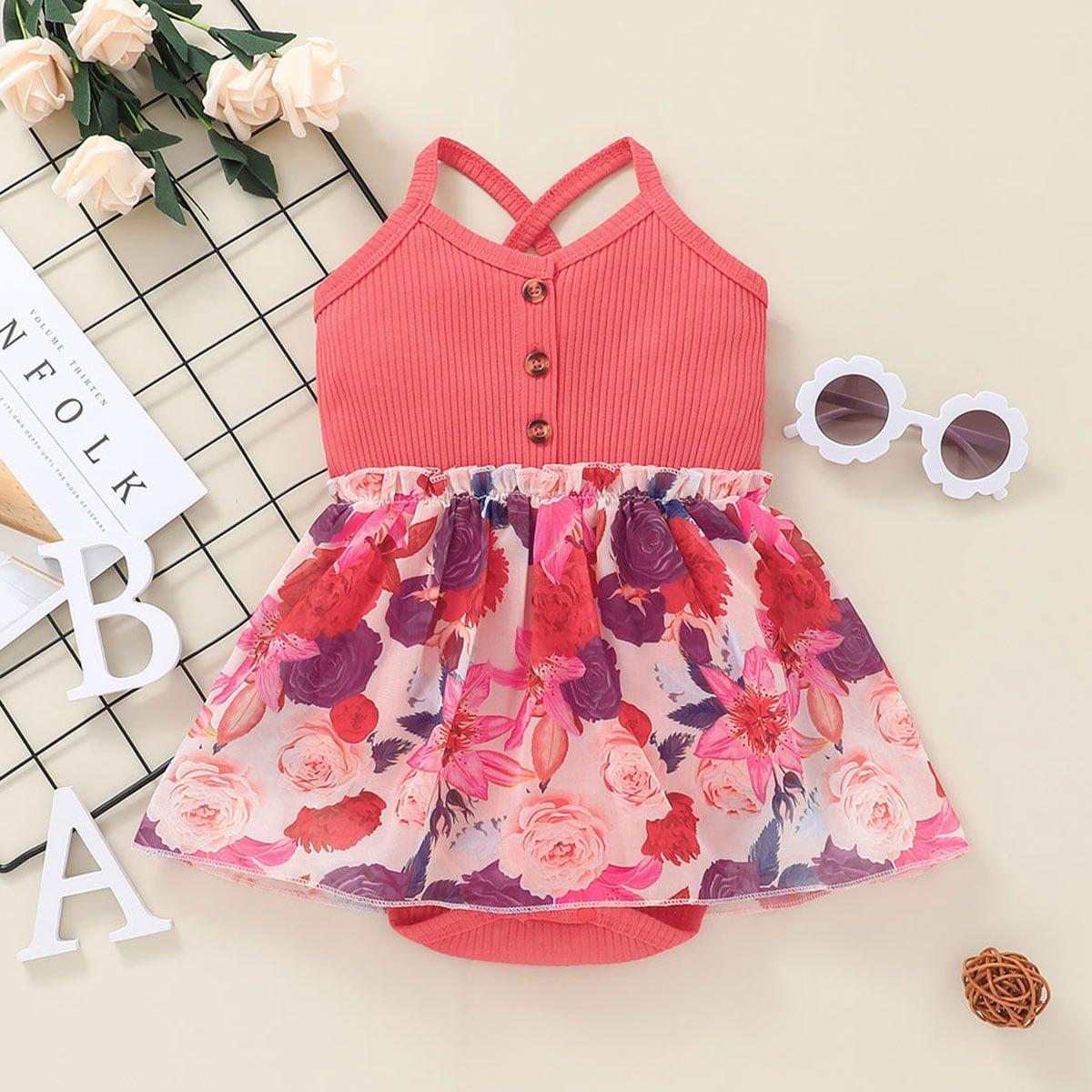 для девочек с цветочным принтом на бретельках Составной комплект Боди Платье от SHEIN