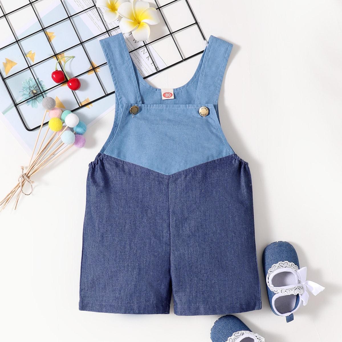 Детский контрастный джинсовый комбинезон от SHEIN