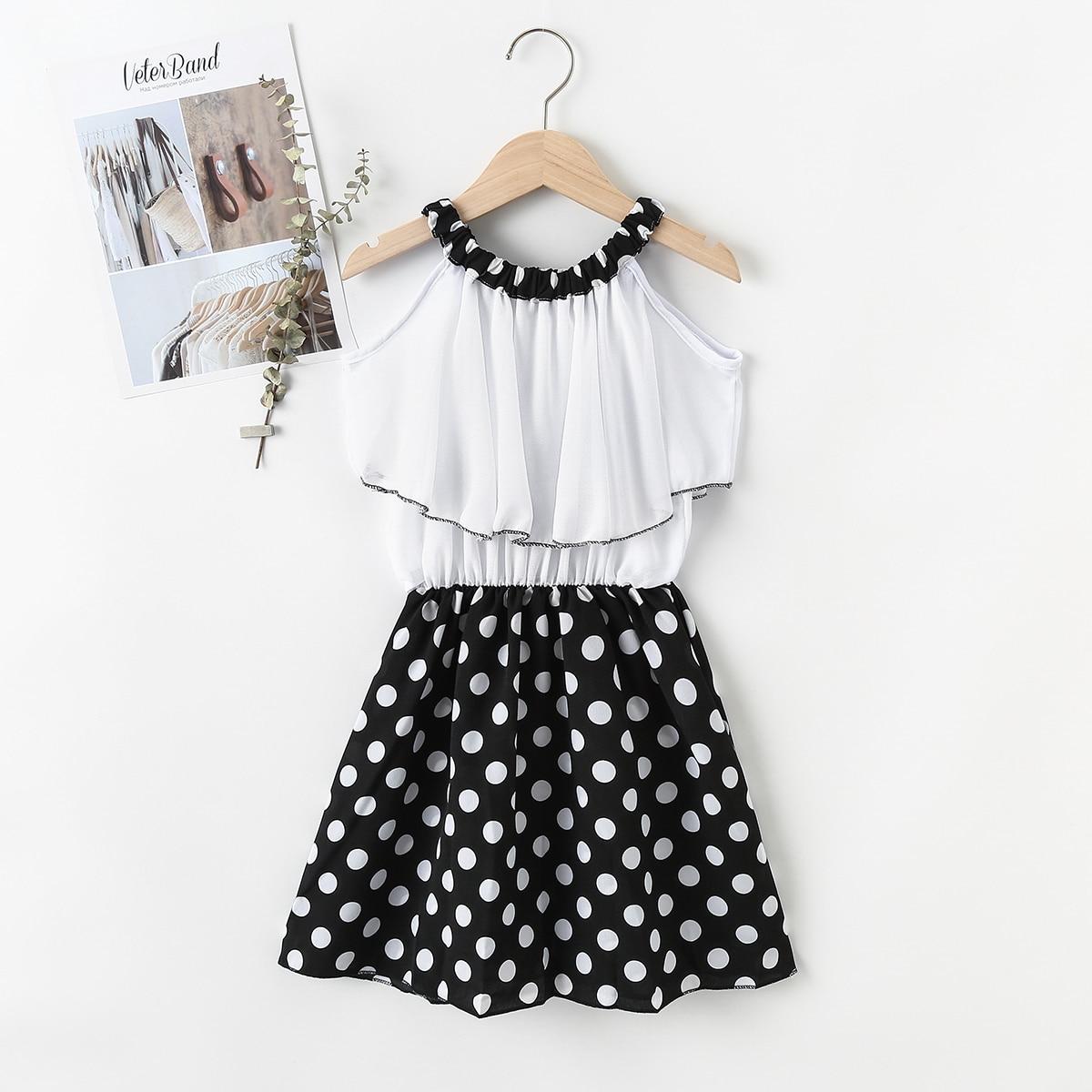 Girls Polka Dot Ruffle Halter Dress, SHEIN  - buy with discount