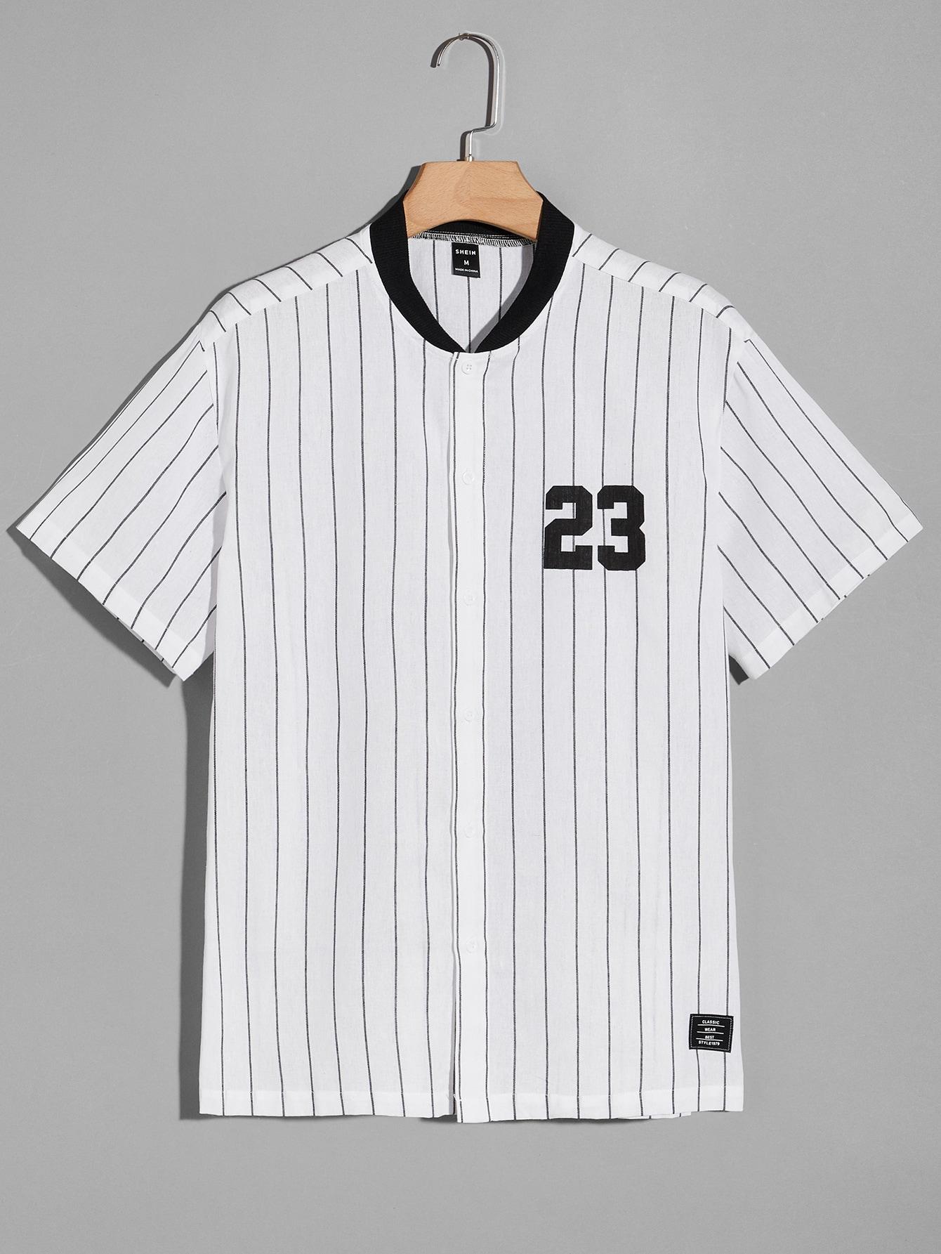 Men Vertical Stripe Number Graphic Baseball Collar Shirt