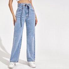 Zipper Fly Wide Leg Belted Jeans