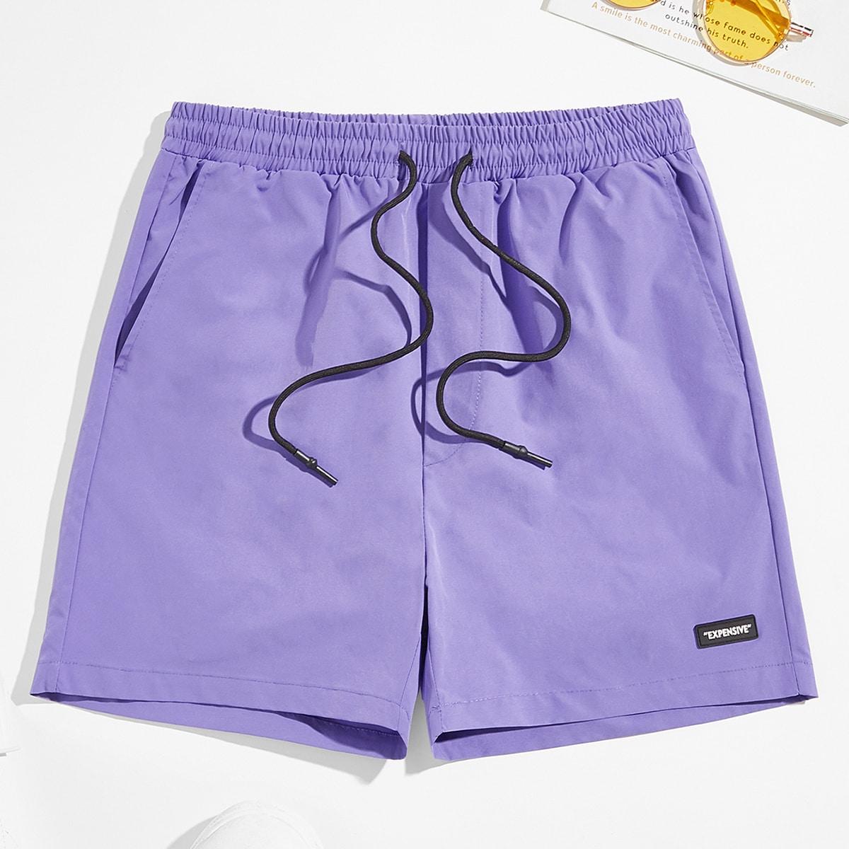 Pantalones cortos para hombre Cordón Bolsillo retazo Casual