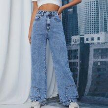Zipper Fly Patch Pocket Boyfriend Jeans